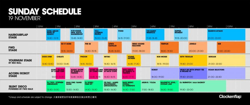 sunday clockenflap 2017 schedule