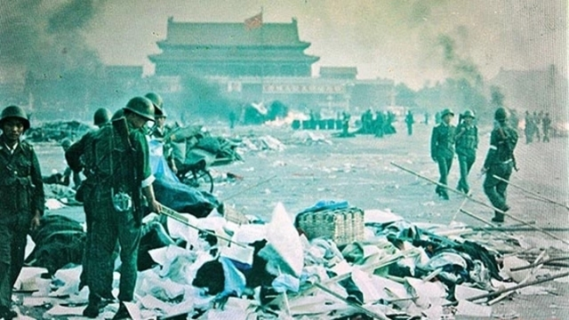 Soldiers in Tiananmen Square