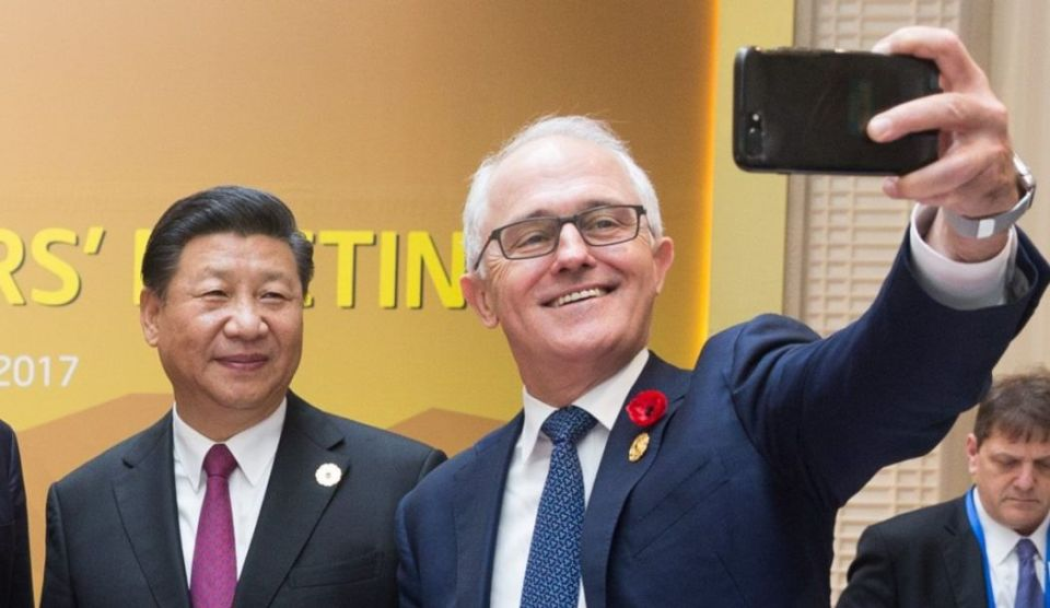 Xi Jinping and Malcolm Turnbull.