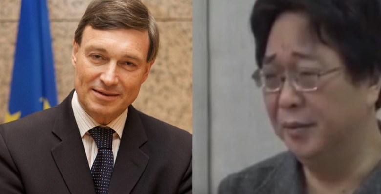 EU ambassador Hans Dietmar Schweisgut and Gui Minhai.