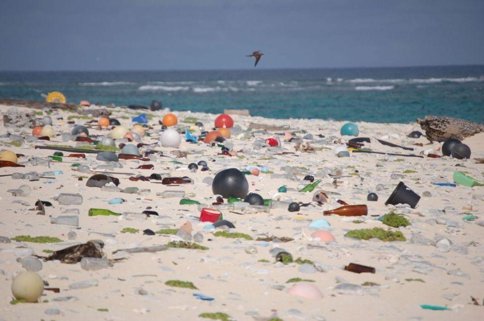 plastic debris beach