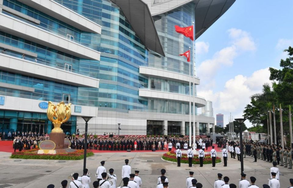 july 1 handover bauhinia square flags