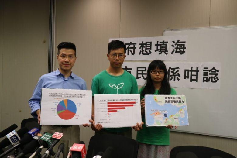 Lawmaker Gary Fan (left) and Mark Mak (centre). Photo: inmediahk.net green sense