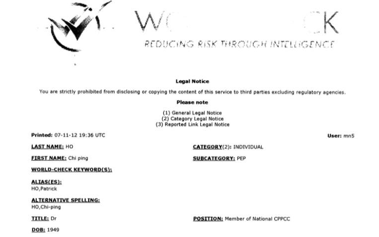 Patrick Ho legal notice