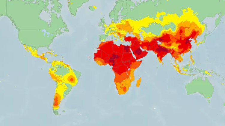 World map air pollution WHO