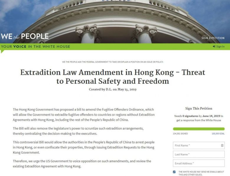 White House petition extradition