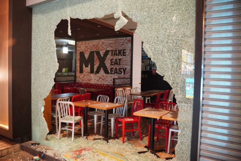 MX Take, Eat, Easy store vandalised October 1 National Day Maxim's protest