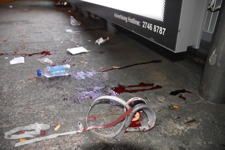 Blood face gas mask Kowloon Yau Ma Tei protest