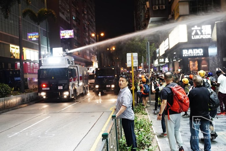 water cannon mody road Oct 27 protest