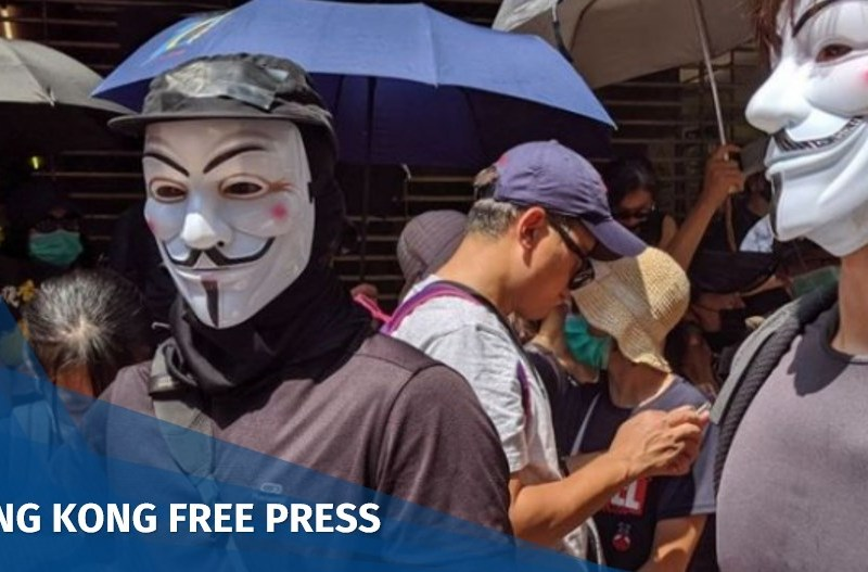 v vendetta mask protester