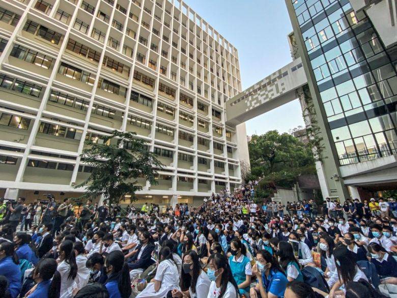 October 18 hku university high school rally mask ban