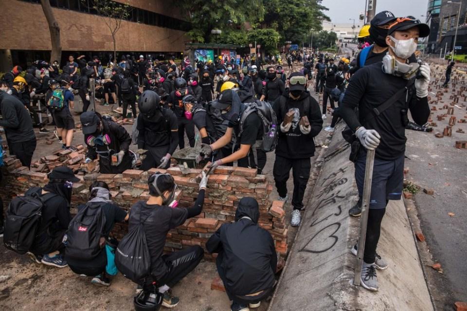 PolyU protester wall bricks Hong Kong Polytechnic University