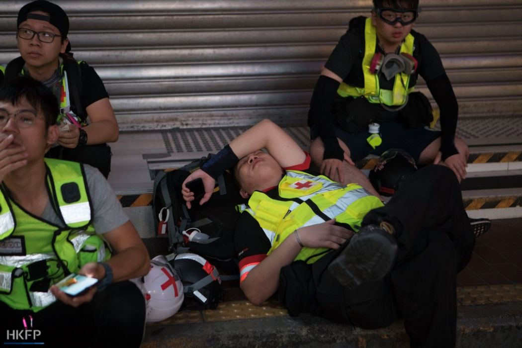 Medics first aid protest tear gas