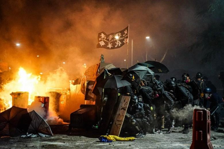 protesters clash police Chinese University of Hong Kong CUHK
