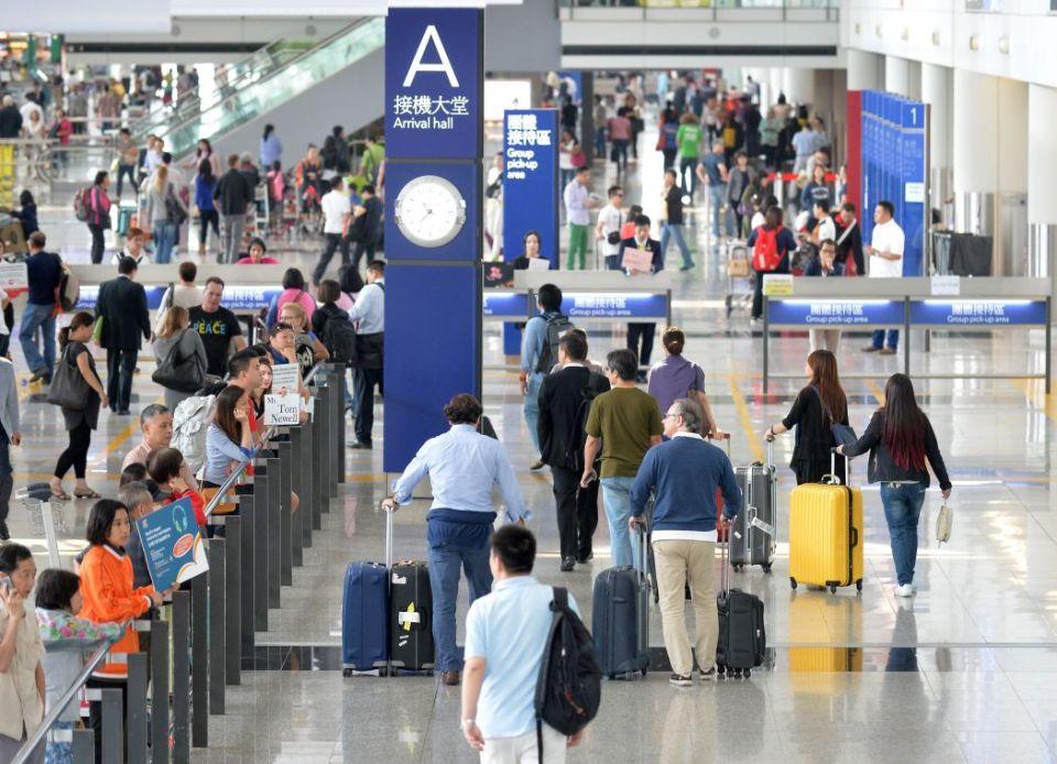 Hong Kong airport arrival