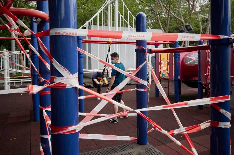 social distancing playground facilities barricade tapes