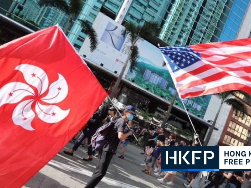 Hong Kong US flags