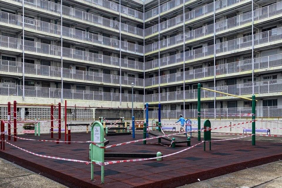 social distancing playground public housing etate