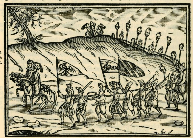 Ottomans with Christian slaves depicted in a 1608 engraving published in Salomon Schweigger's account of a 1578 journey