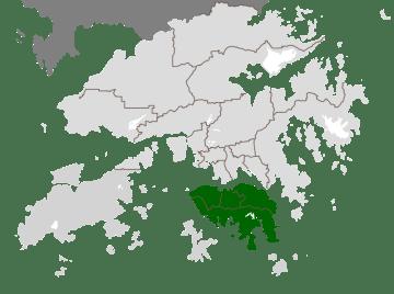 En vert, l'île de Hong Kong, le cœur historique de la colonie anglaise resté le centre économique et politique