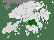 En vert, Kowloon, rattaché à Hong Kong en 1860 (1898 pour New Kowloon). C'est là que les densités résidentielles sont les plus élevées.