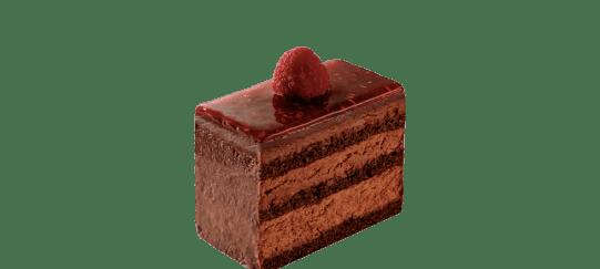 Choco FramboiseBiscuit cacao aux amandes imbibé de pulpe de framboise, recouvert de mousse au chocolat noir. Glaçage confiture framboise.