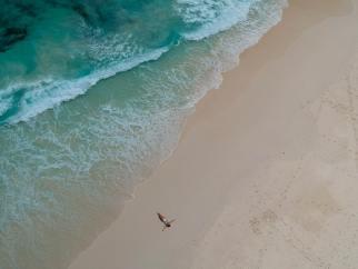 Eine Frau ist alleine am Meer und reflektiert ihre Wünsche