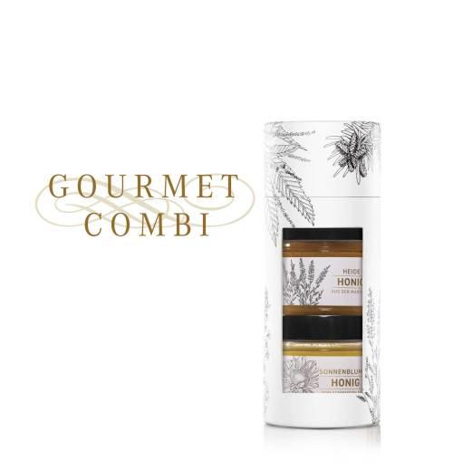 Tube «Gourmet Combi» Heidenhonig und Sonnenblumenhonig