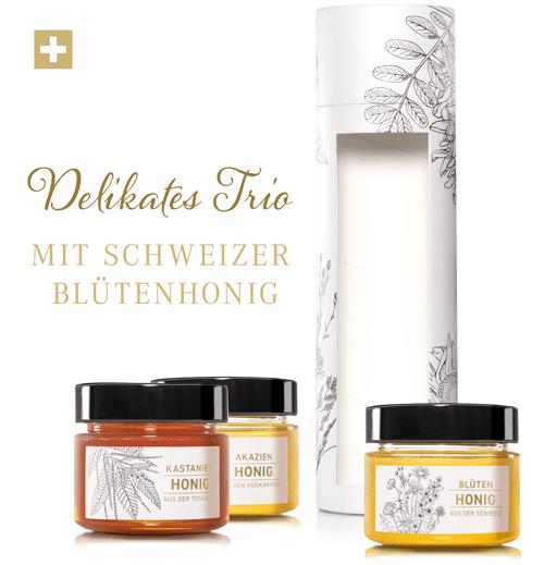 Tube: «Delikates Trio» Schweizer Blütenhonig, Kastanienhonig, Akazienhonig