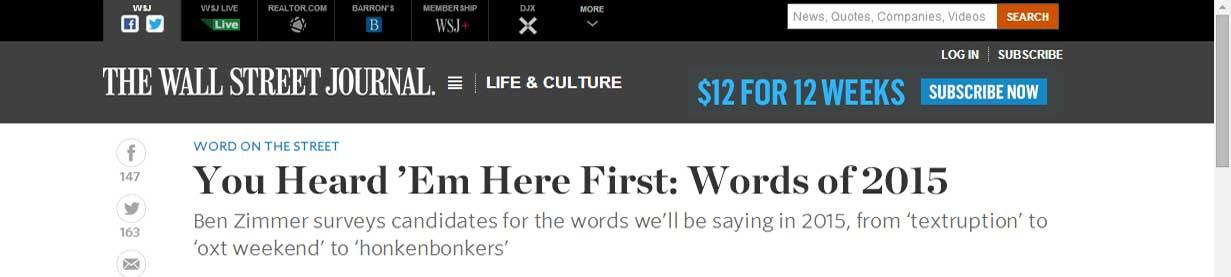 Honkenbonkers in the Wall Street Journal!