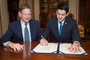 Congressman Lamar Smith and Speaker of the House Paul Ryan
