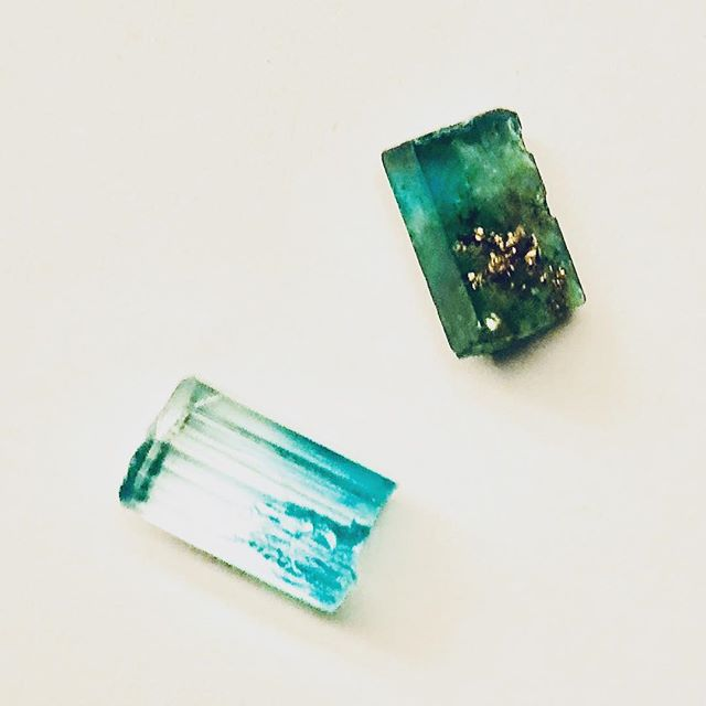 The emerald, one is with pyrite and one other is gradations of color. I am thinking to make cufflink....these are not brother , may be friend....