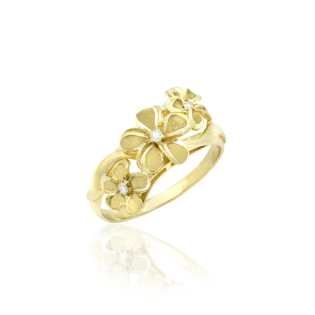 Queen Plumeria Triple Flower Ring with Diamonds