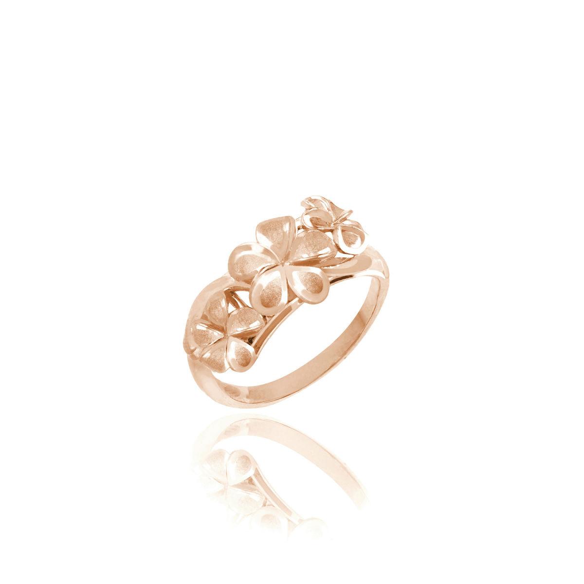 Queen Plumeria Triple Flower Ring Rose Gold