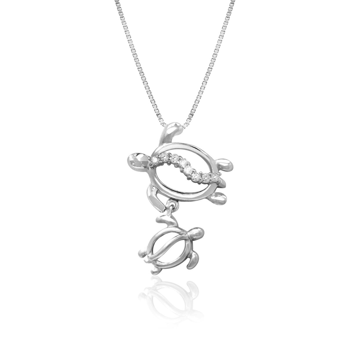 Petro Mom And Baby Turtle 14k White Gold Pendant