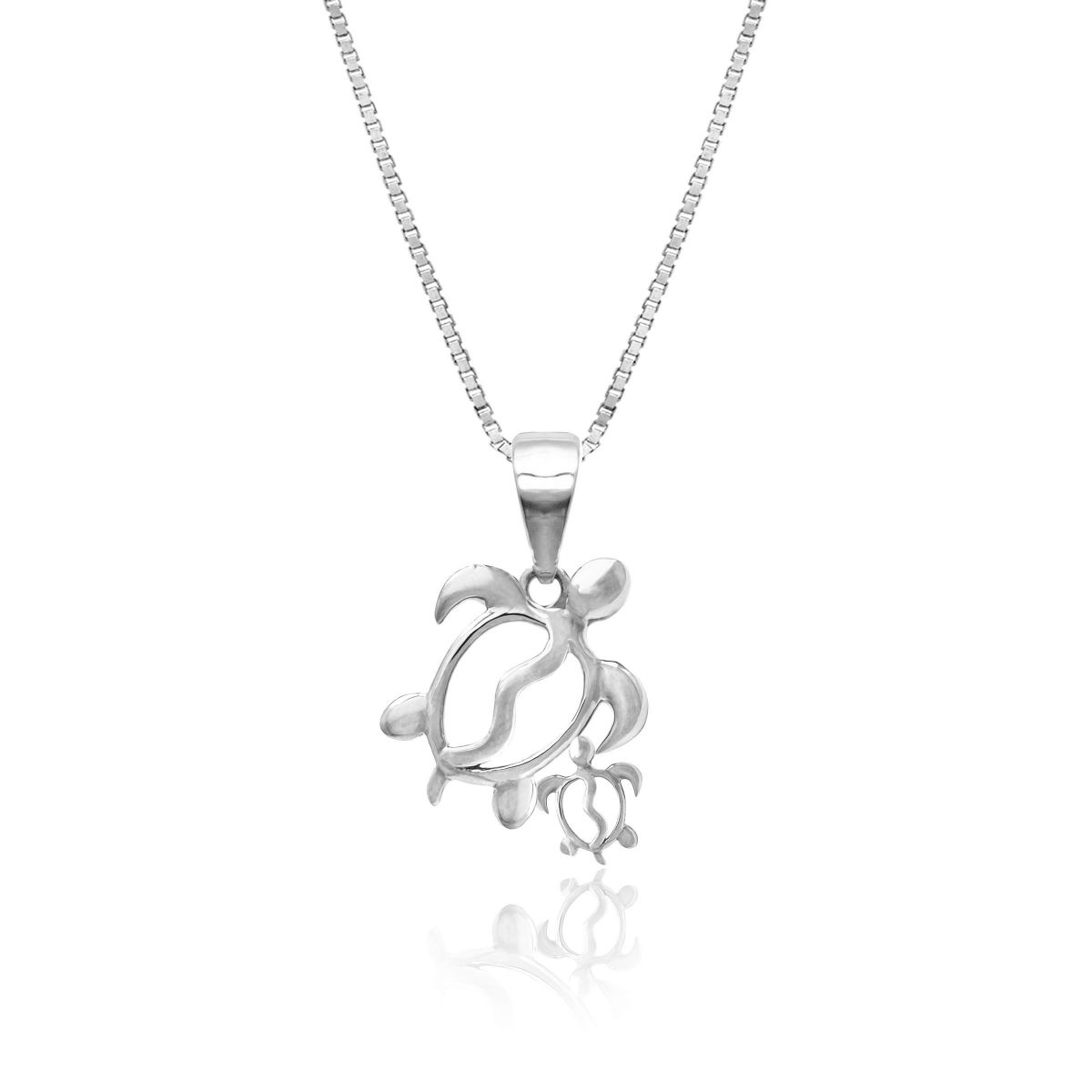 Mom And Baby Turtle 14k White Gold Pendant