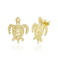 14K Yellow Gold Turtle Post Diamond Cut Earrings