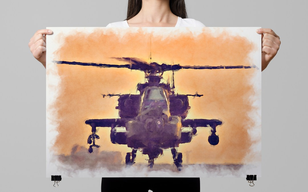 Apache Helicopter Poster Art