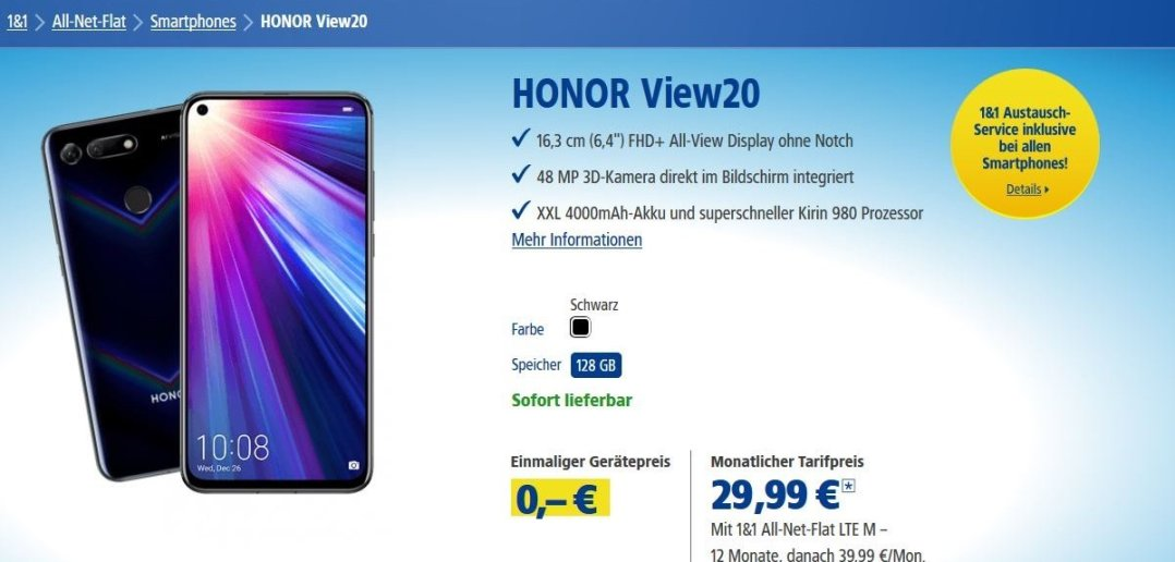 HONOR View20 1und1