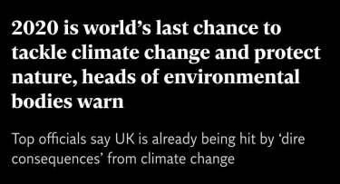 「2020年が気候変動と立ち向かう最後のチャンス」環境機関の長たちが警告‐気候危機25