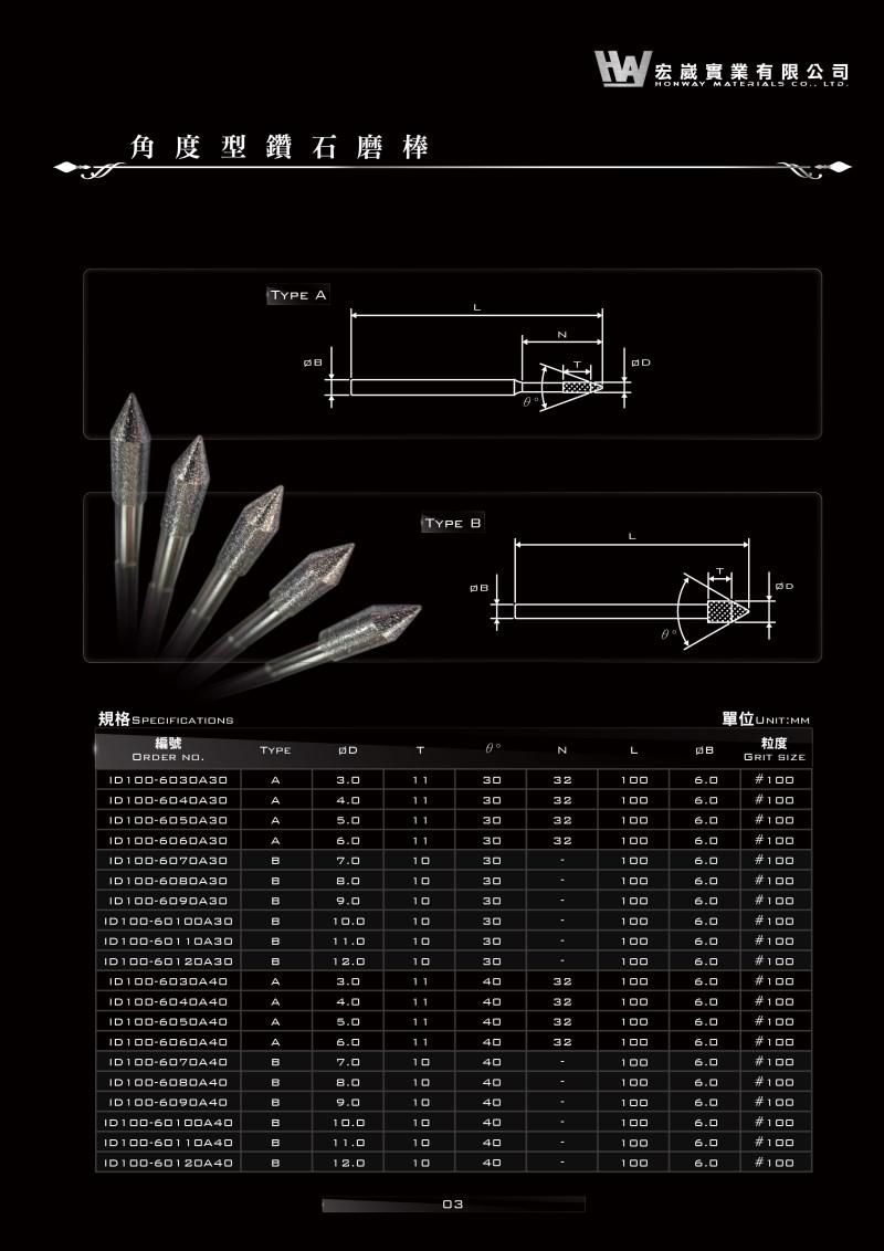 鑽石磨棒,氮化硼磨棒,電鑄法,電鍍法,深孔磨棒,內孔磨棒,角度型磨棒