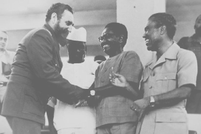 Fidel Castro greets  former Guinean President Ahmed Sekou Toure and former presidents  Agostino Neto of Angola and Luis Cabral of Guinea-Bissau during the  Non-Aligned Movement Summit in Cuba in 1979.