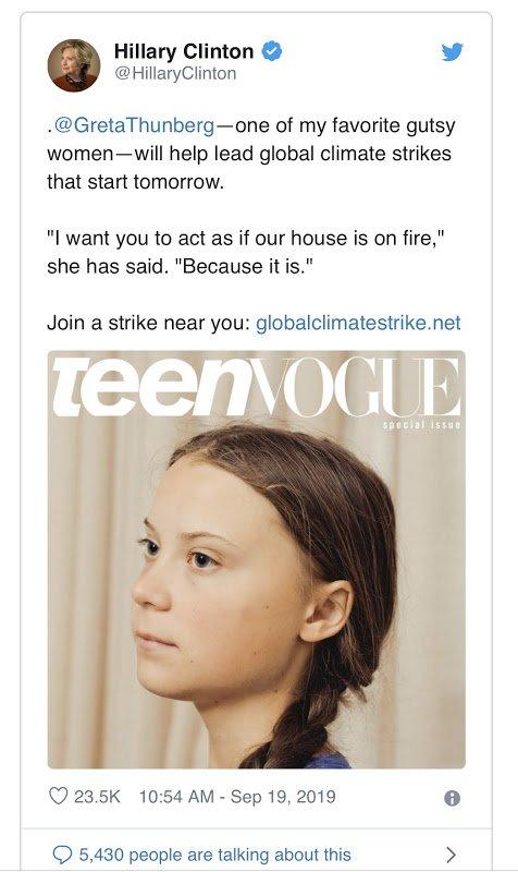 Hillary Clinton praising Greta Thunberg on Twitter.