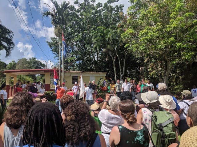 An open ceremony to welcome the Venceremos brigade to the camp where we spent the first 10 days of the trip.