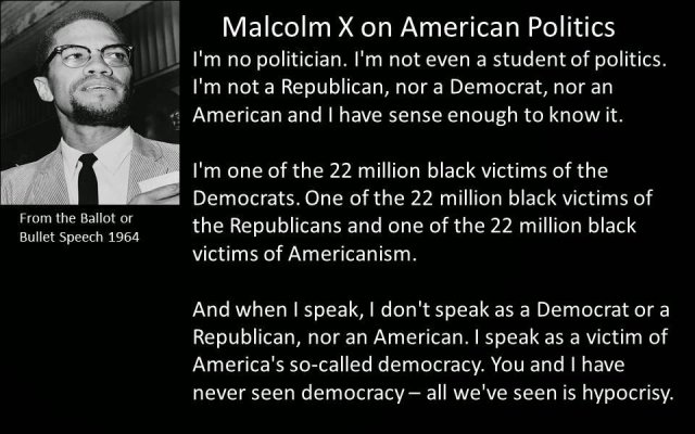 Excerpt from Malcolm X's Ballot or the Bullet speech.