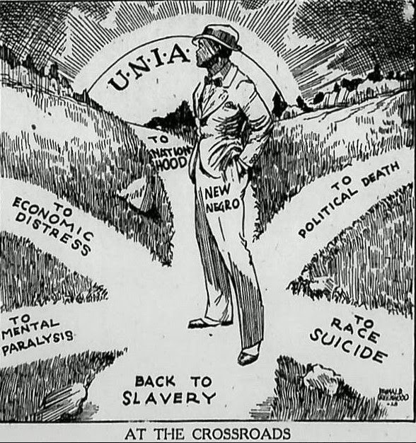 A UNIA flyer depicting an African at a crossroads.