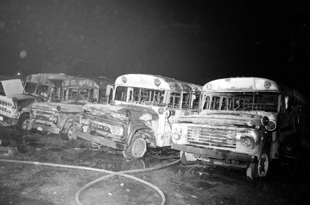 Burned Pontiac school system buses