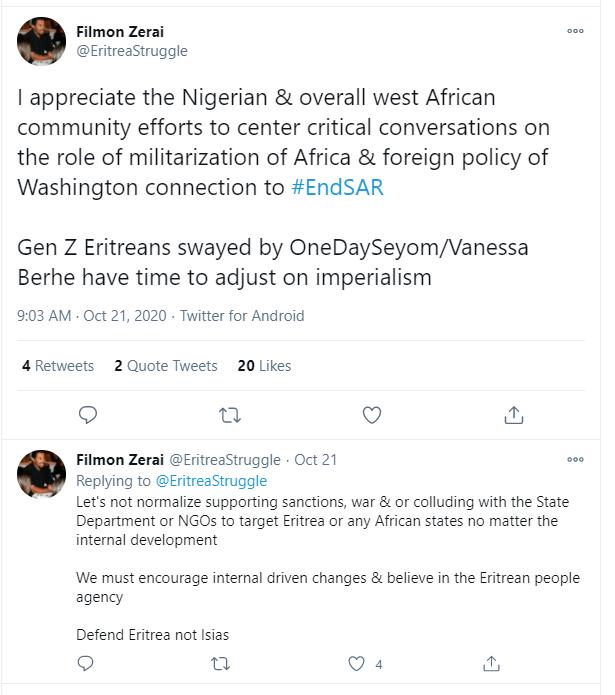 A tweet from Filmon Zerai (@EritreaStruggle)