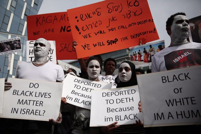 Africans protest racist conditions produced by Zionist in occupied Palestine.