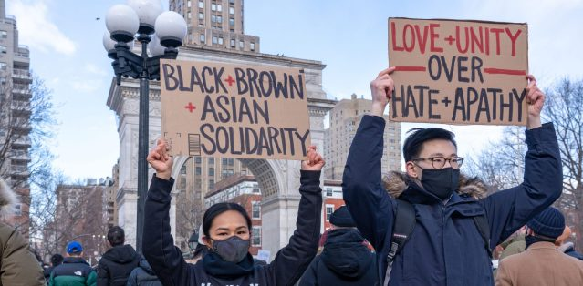 African and Asian solidarity protest against anti-Asian bigotry.